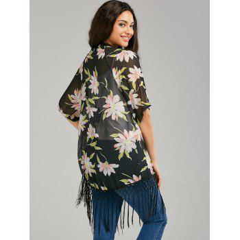 Fringe Print Long Sheer Chiffon Cape - COLORMIX M