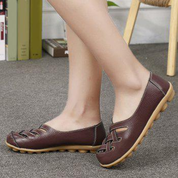 Criss Cross Faux Leather Flat Shoes - COFFEE 39