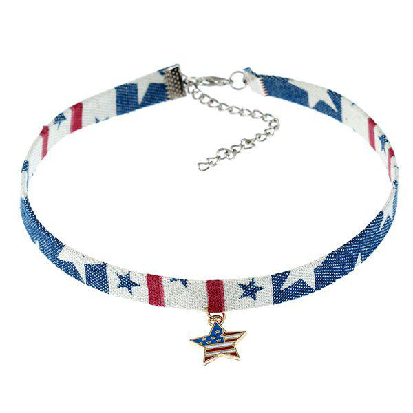 Star Patriotic American Flag Choker Necklace - DENIM BLUE