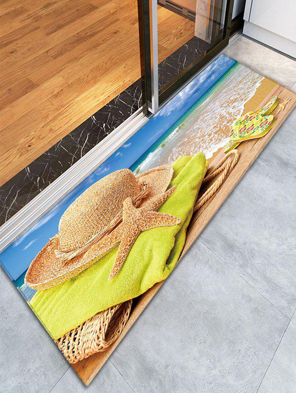 Beach Style Print Skidproof Flannel Bathroom Rug skidproof flannel bathroom rug with nightfall surfing print