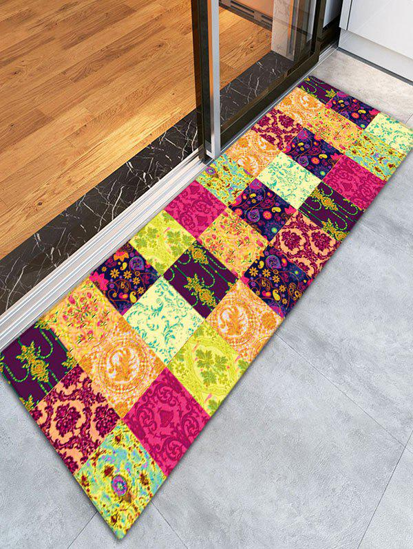 Floral Plaid Flannel Skidproof Bathroom Rug - YELLOW
