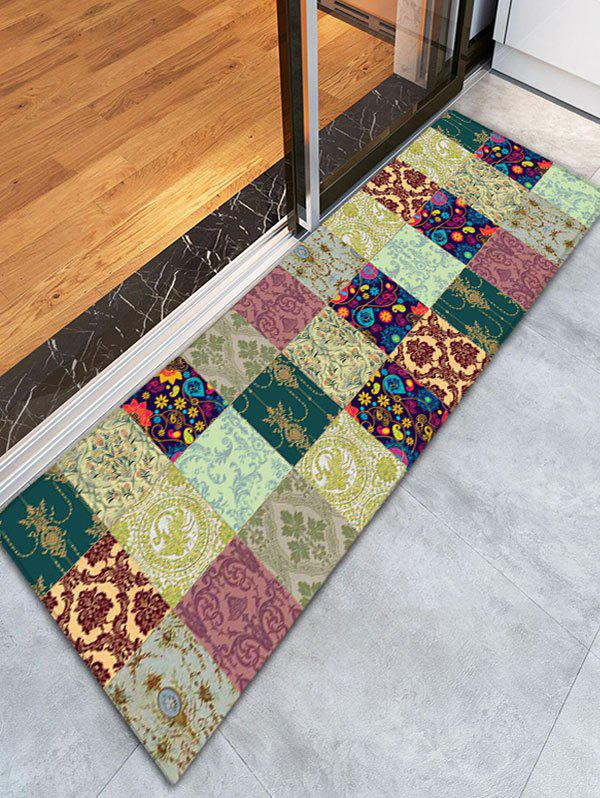 Floral Plaid Flannel Skidproof Bathroom Rug - COLORMIX
