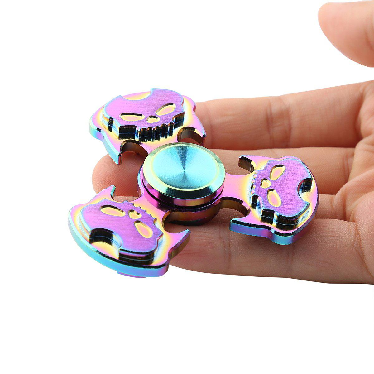 Rainbow Skull Tri-bar Hand Spinner tri fidget hand spinner triangle metal finger focus toy adhd autism kids adult toys finger spinner toys gags