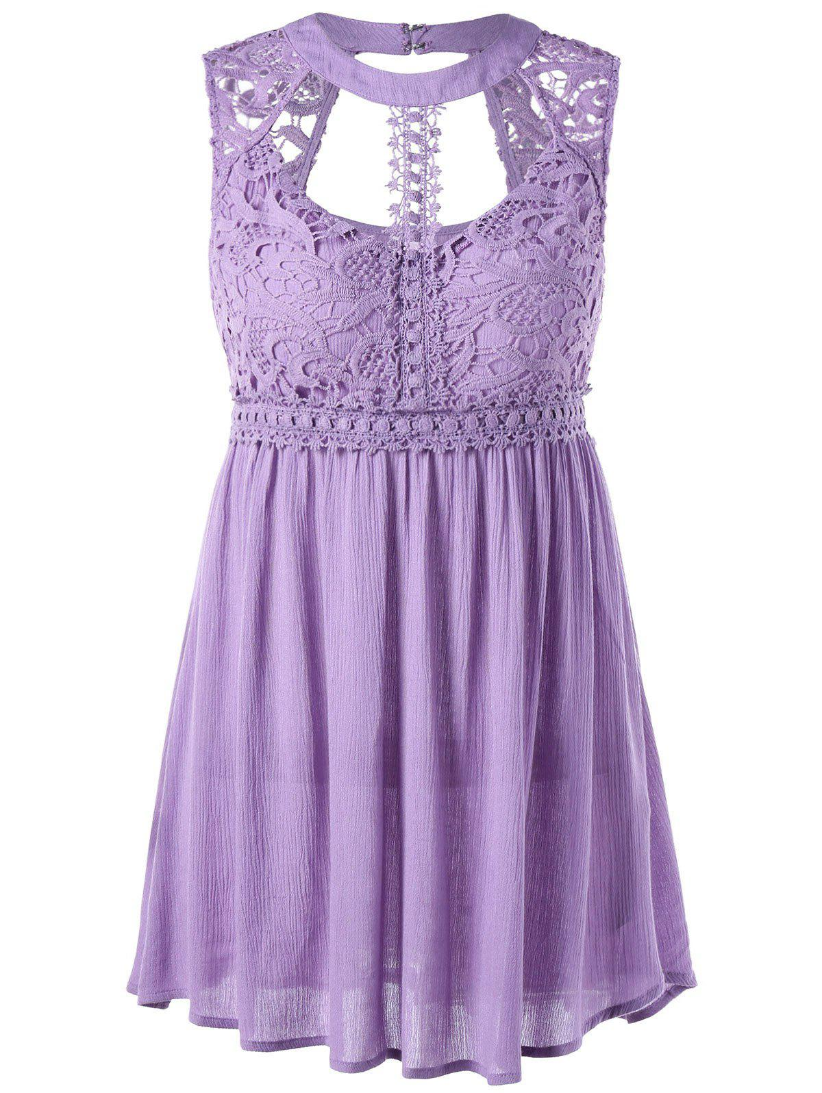Lace Trim Cut Out Sleeveless Blouse lace trim sleeveless dressy blouse with camisole