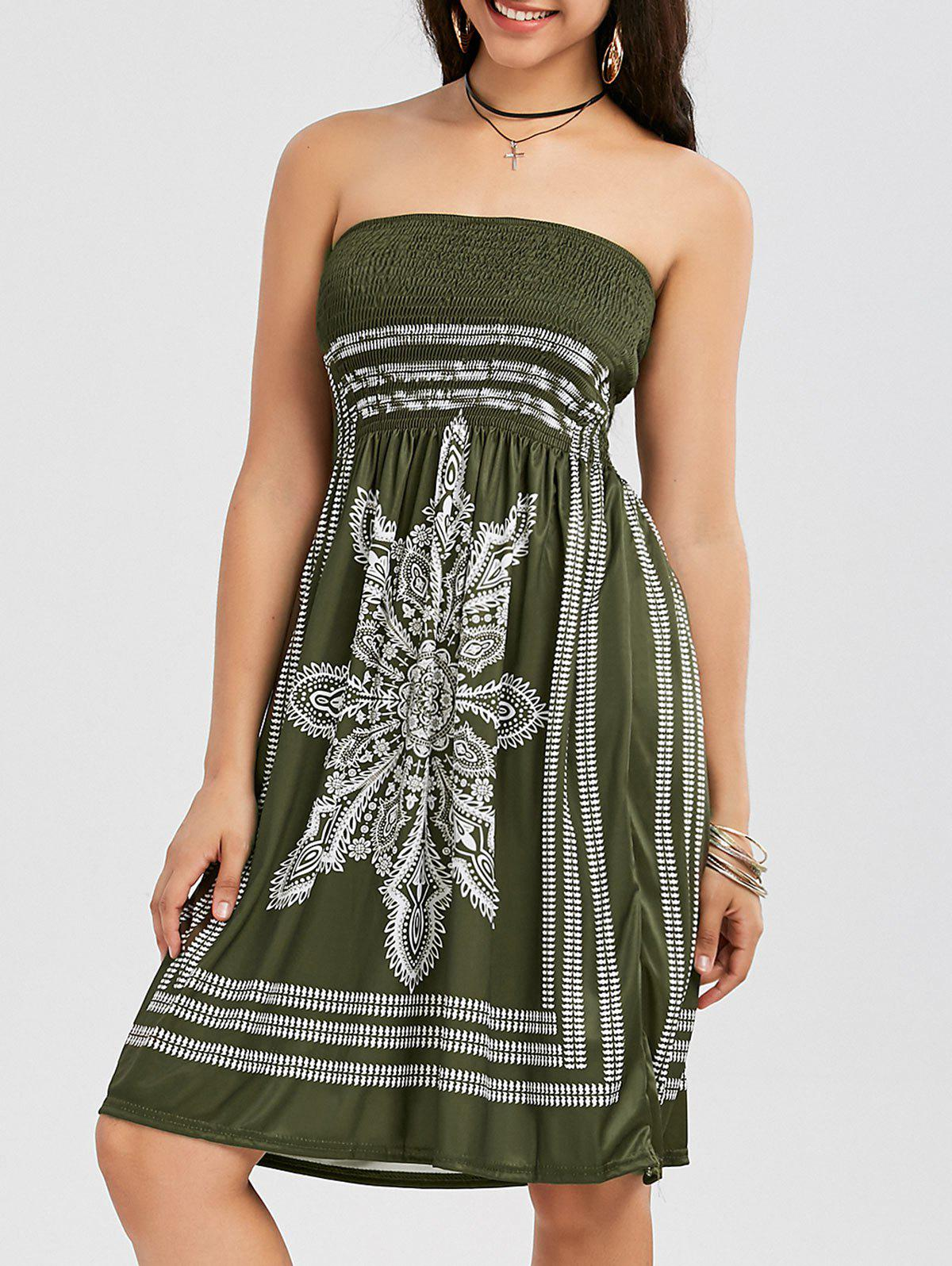 Bohemian Tribal Print Bandeau Dress - ARMY GREEN XL