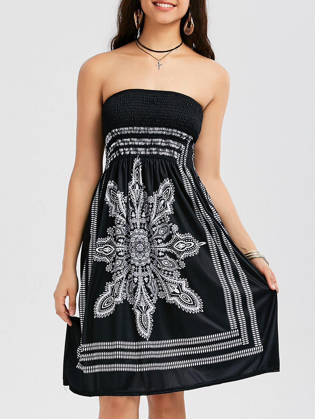 Bohemian Tribal Print Bandeau Dress - BLACK XL