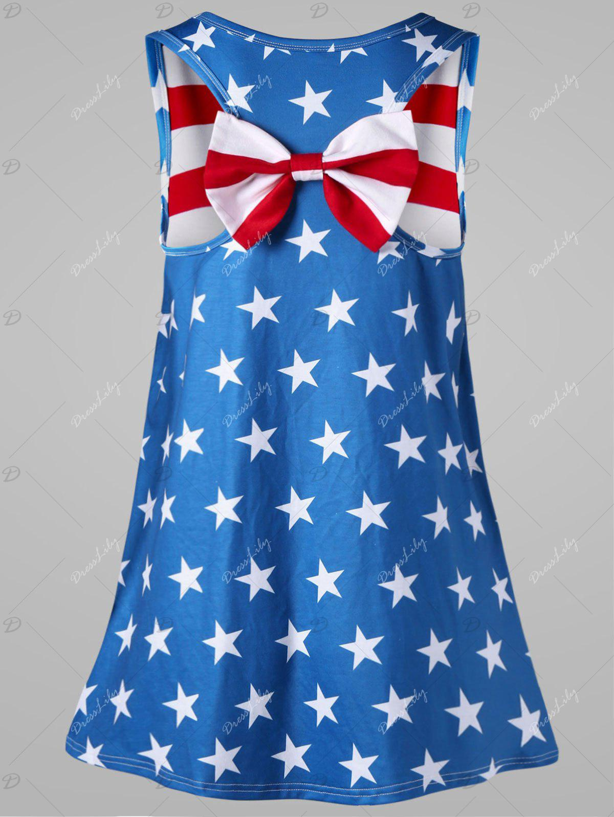Plus Size American Flag Bowknot Embellished Tank Top - COLORMIX 2XL