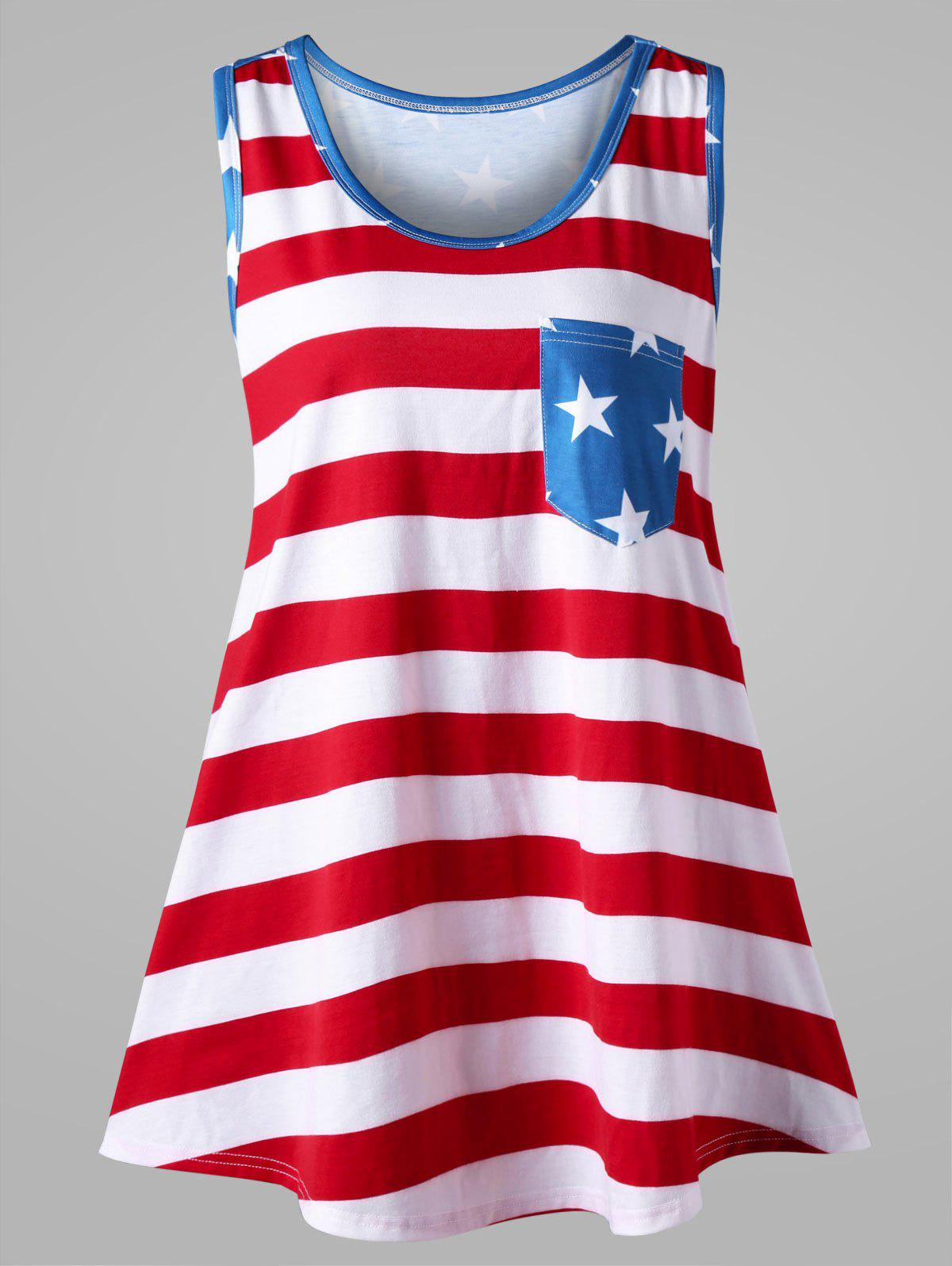 b4437d6a92486 2018 Plus Size American Flag Bowknot Embellished Tank Top COLORMIX ...