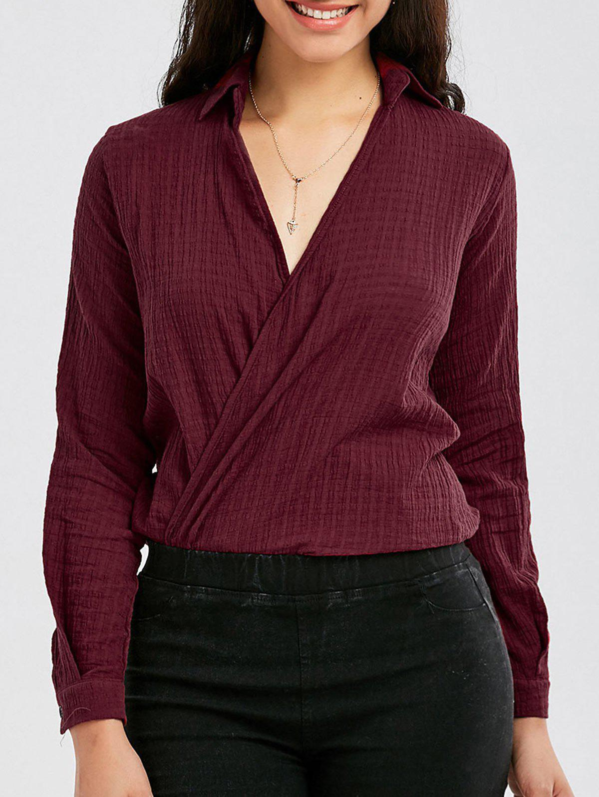 Long Sleeve Open Front Shirt, Wine red