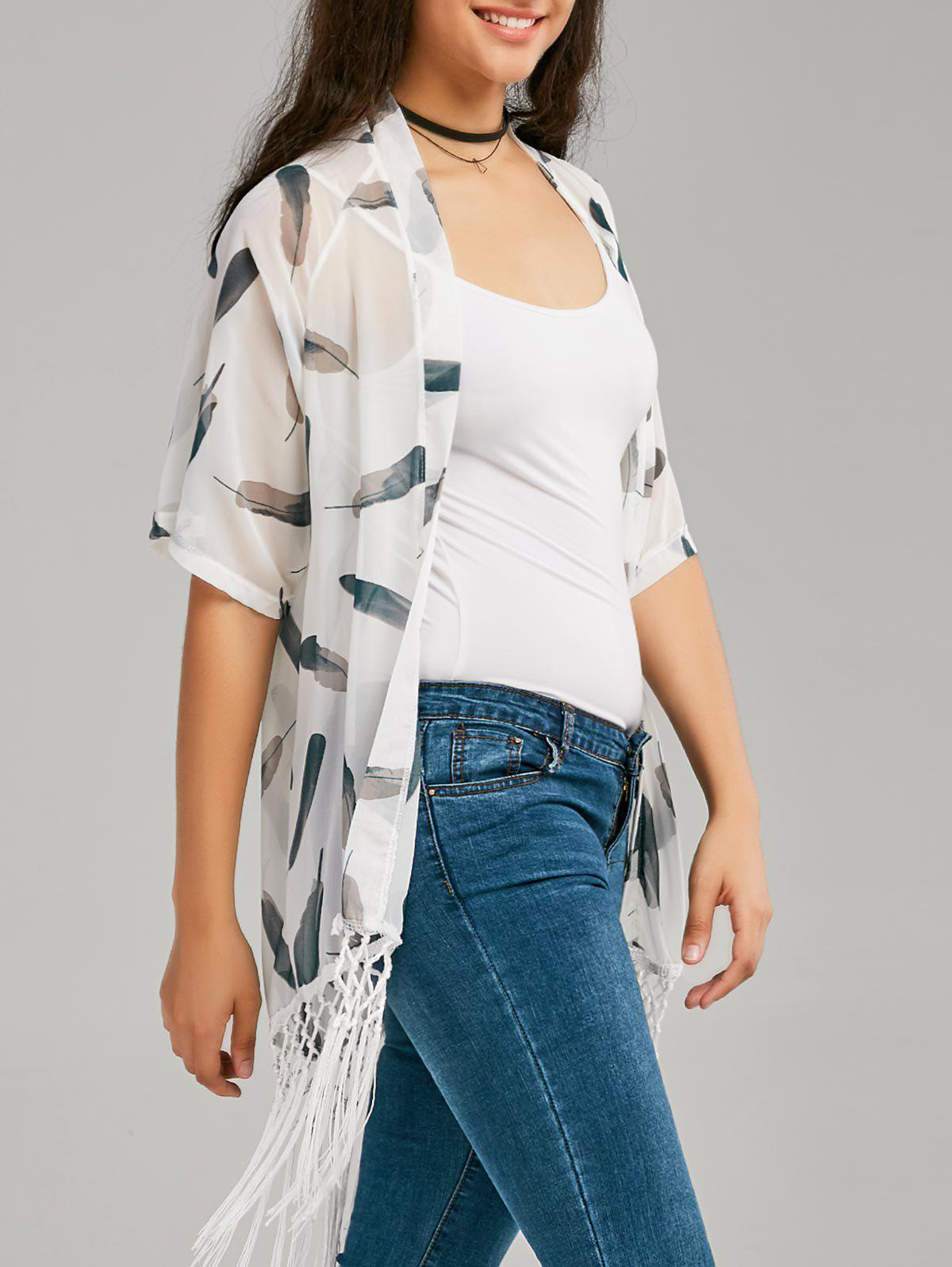Fringe Print Long Sheer Chiffon Cape - WHITE L