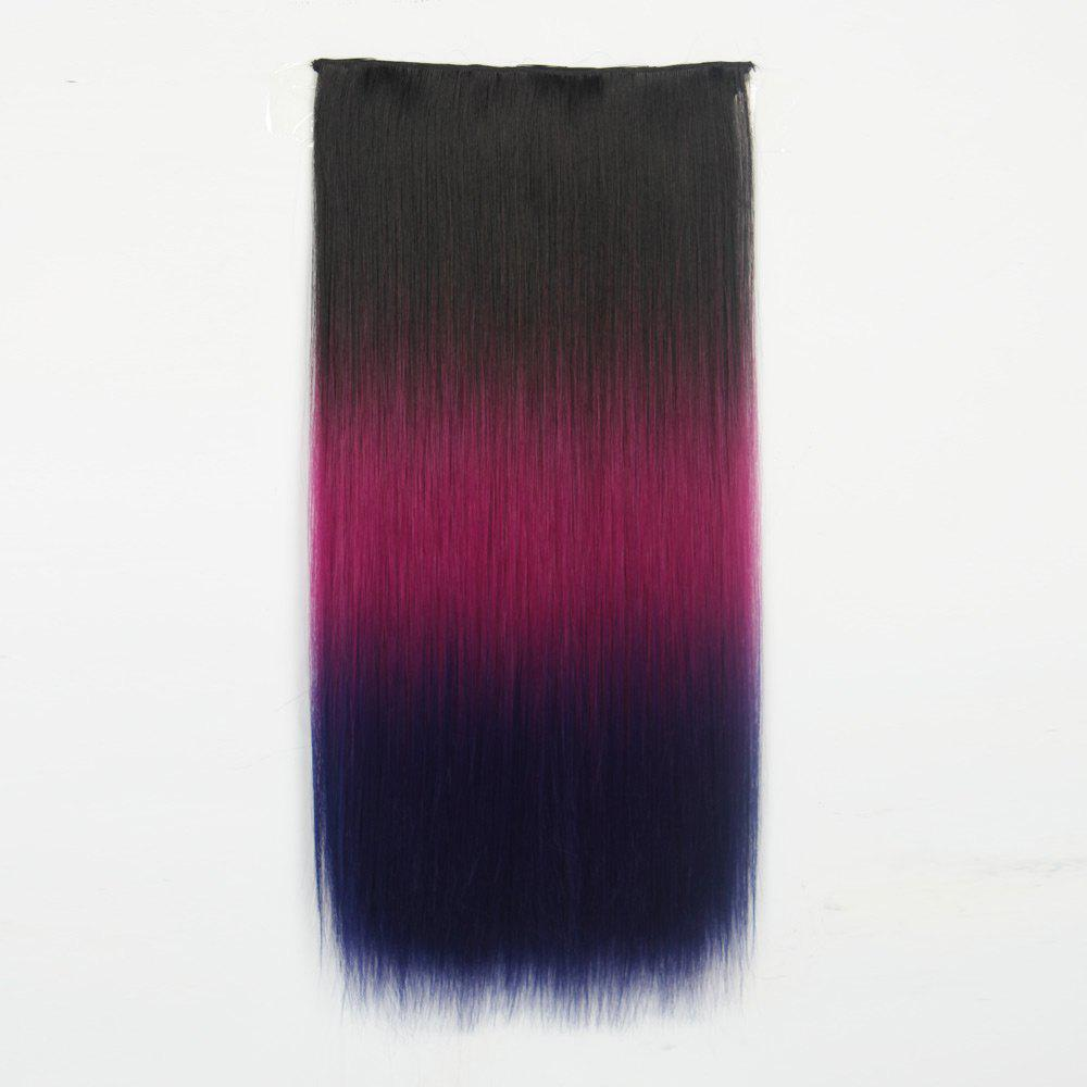 1Pc Long Straight Multi Color Ombre Clip In Hair Extensions - Noir et Rouge