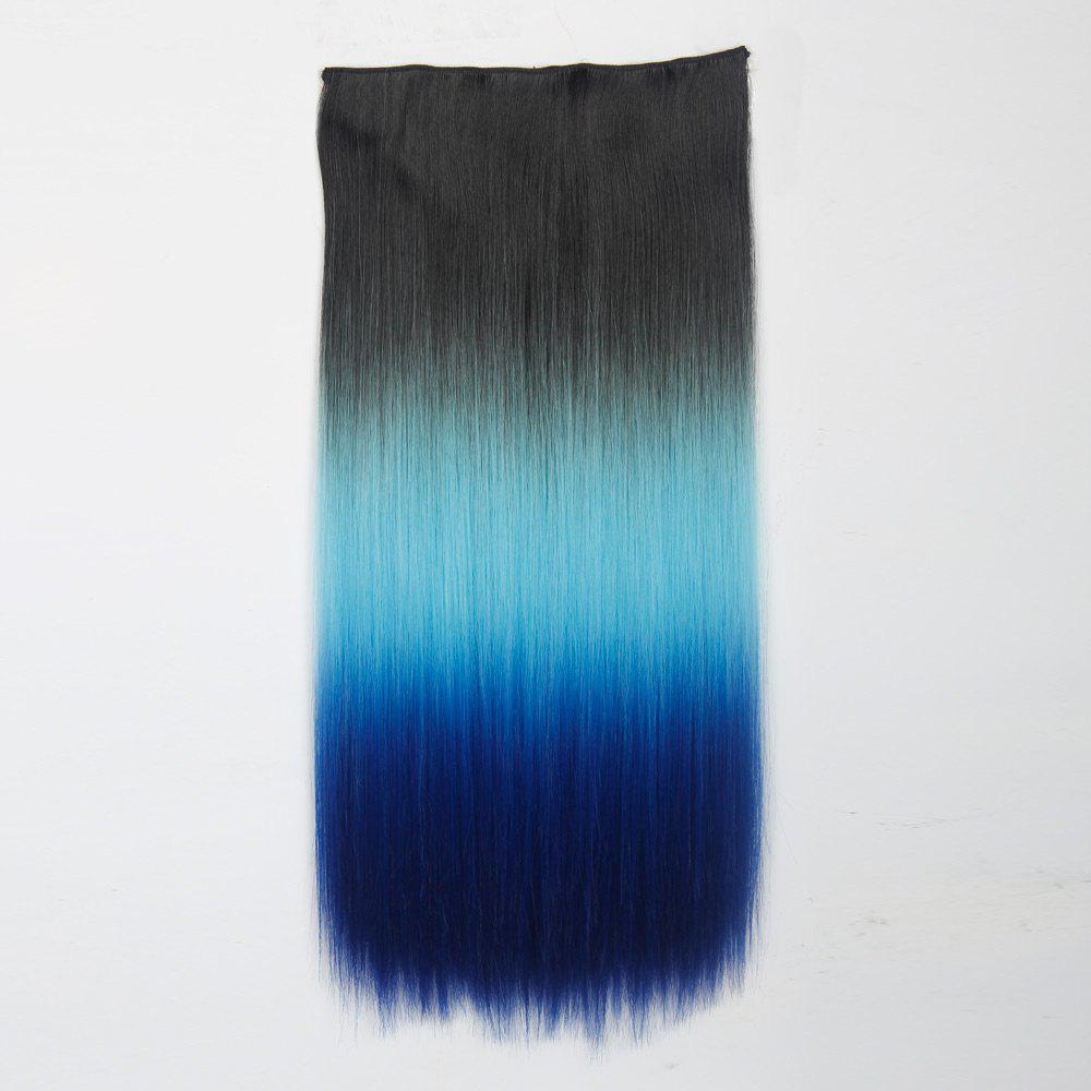 1Pc Long Straight Multi Color Ombre Clip In Hair Extensions - Noir et Bleu