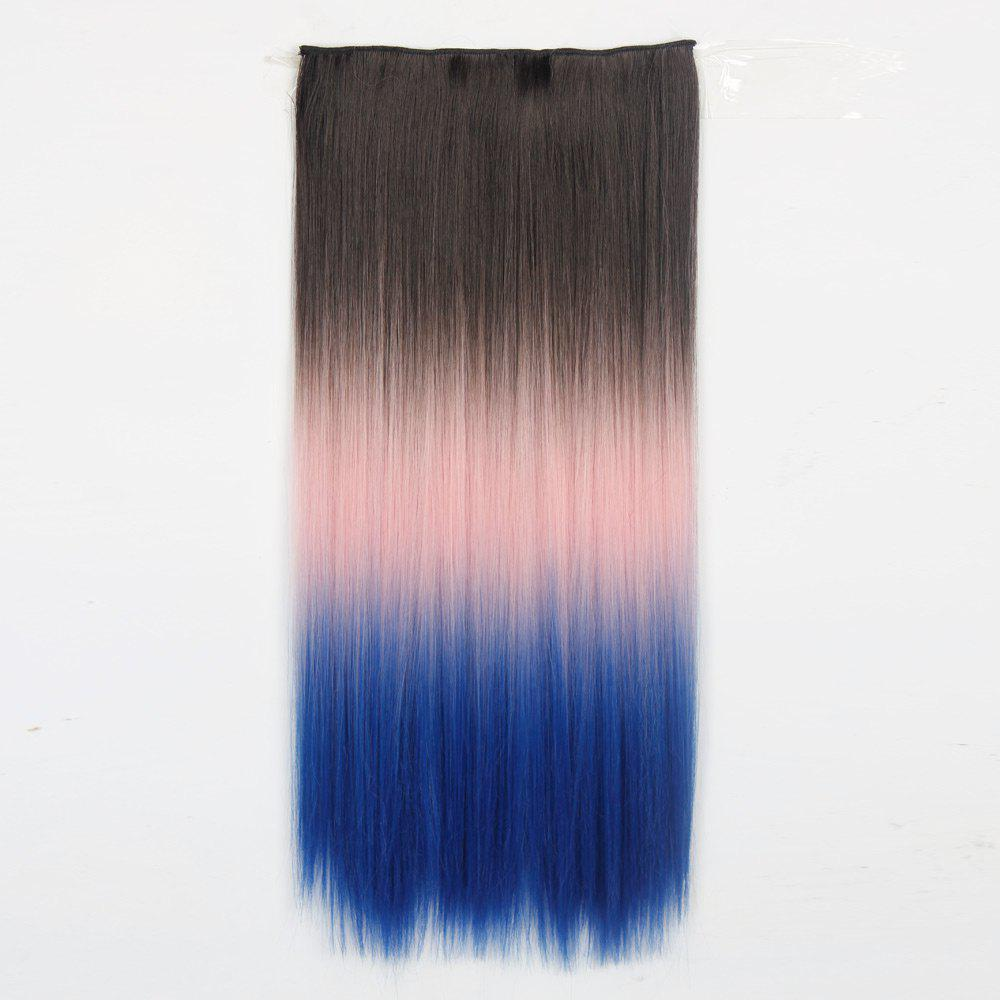 1Pcs Silky Long Straight Multi Color Ombre Clip In Hair Extensions - Bleu et Rose