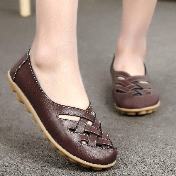 Criss Cross Faux Leather Flat Shoes - café 40