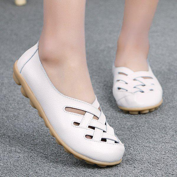 Criss Cross Faux Leather Flat Shoes - Blanc 38