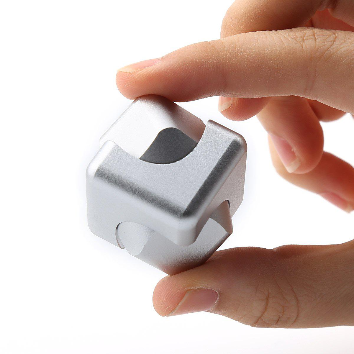 Focus Toy Alloy Fidget Cube Spinner - Argent