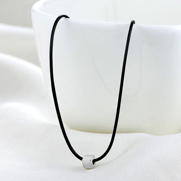 PU Leather Rope Cube Collarbone Necklace artificial leather rope round collarbone necklace