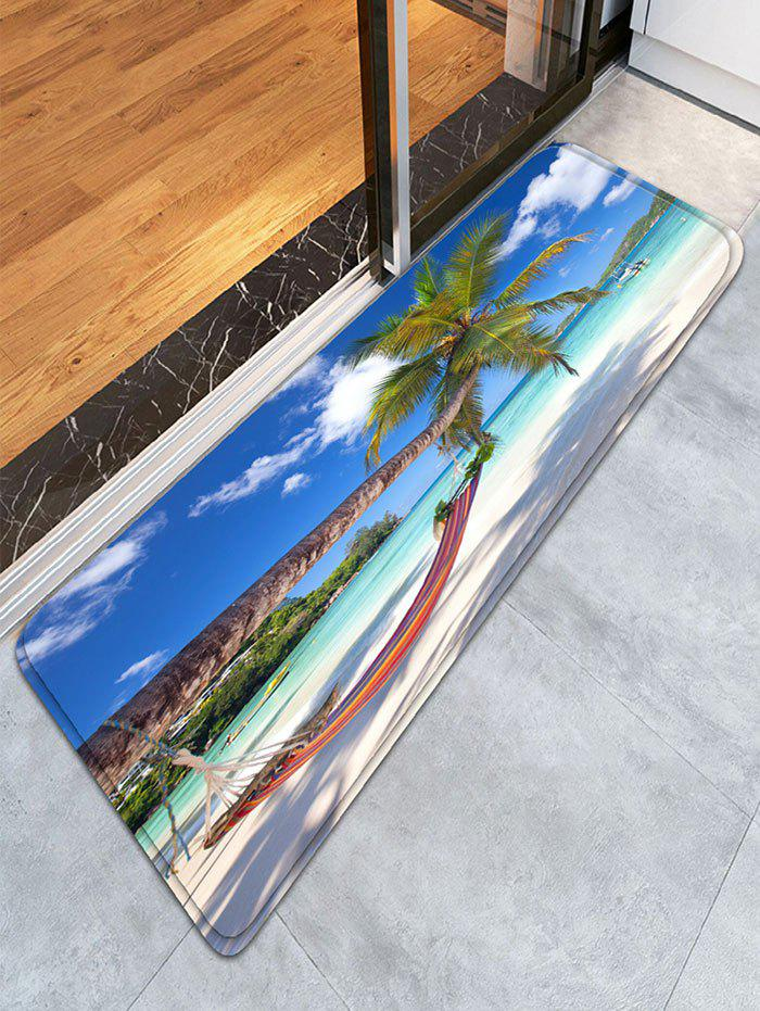 Flannel Skidproof Bath Rug with Beach Scenery Print bathroom flannel skidproof shore scenery mat