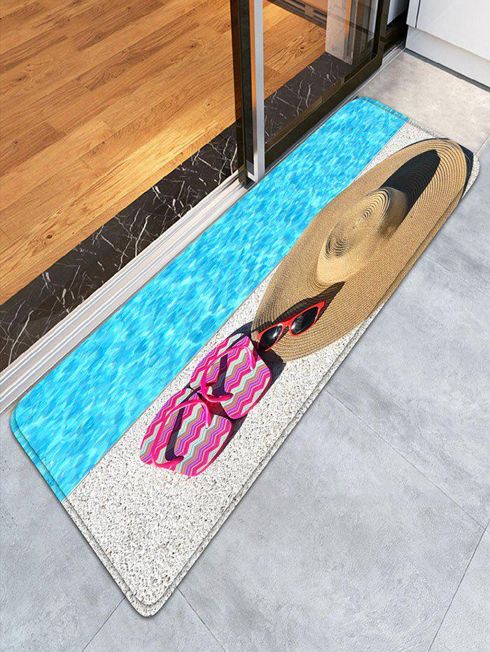 Slippers Straw Hat Bathroom Flannel Skidproof Rug