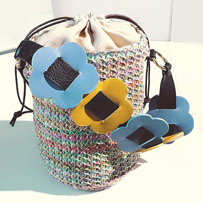 Casual Woven Drawstring Beach Bucket Bag - COLORFUL