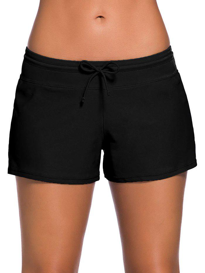 Drawstring Swimming Boyshort - BLACK L