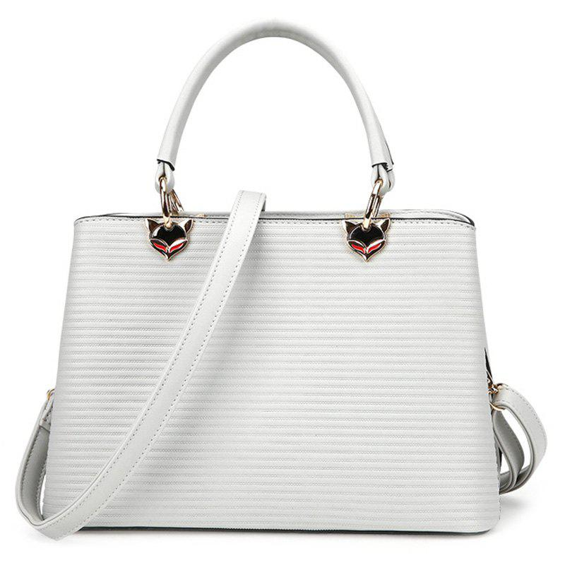 Concise Convertible Embossed Handbag - Gris Clair