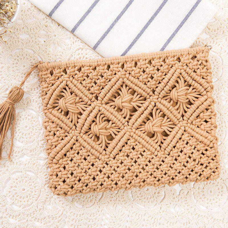 Crochet Tassel Clutch Bag - Camel