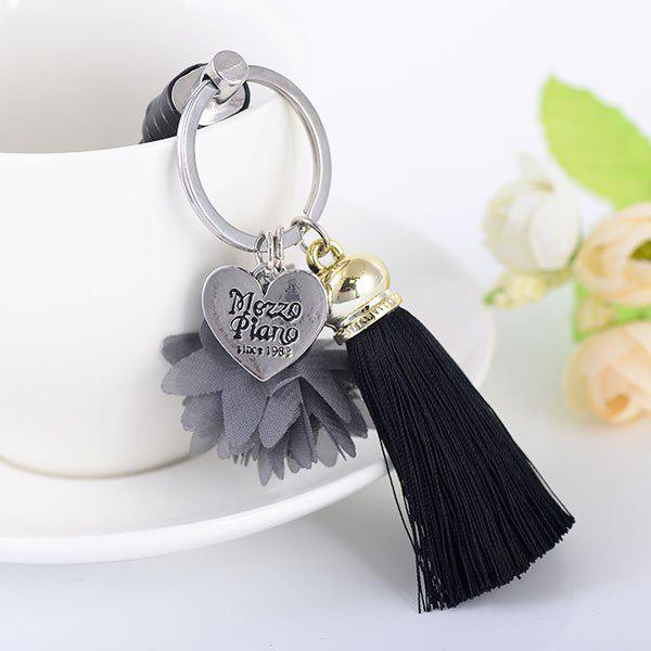 Heart Engraved Tassel Flower Key Chain - BLACK