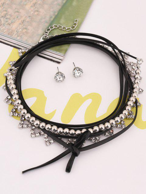 Hollow Out Layered Geometric Rhinestone Choker Set - SILVER