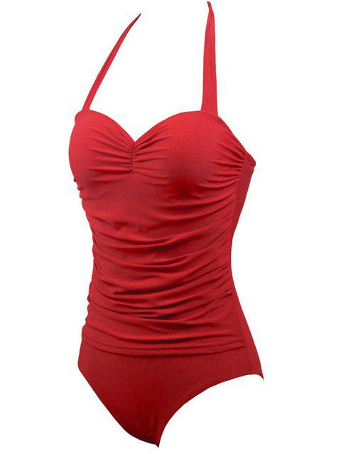 Halter Underwire One-Piece Retro Swimsuit - RED S