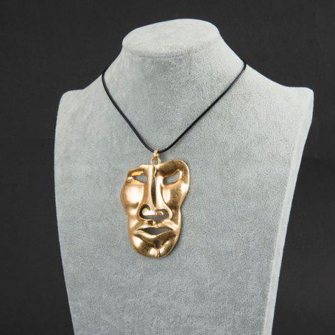 Tribal Statement Face Mask Pendant Necklace - GOLDEN