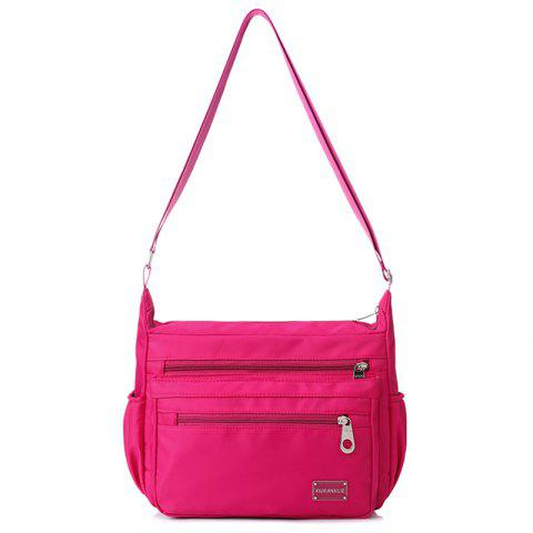 Nylon Cross Body Bag with Side Pockets - ROSE RED