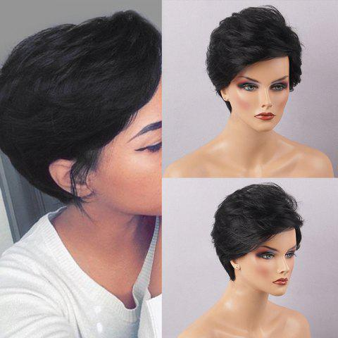 Oblique Bang Shaggy Layered Short Slightly Curled Human Hair Wig - JET BLACK 01