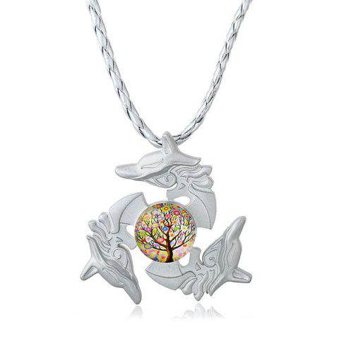 Dolphin Tree of Life Fidget Spinner Decoration Necklace - SILVER