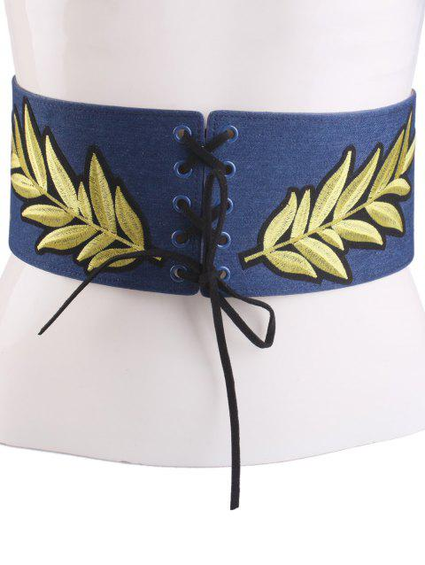 Wide Leaf Embroidery Lace Up Corset Belt - CERULEAN