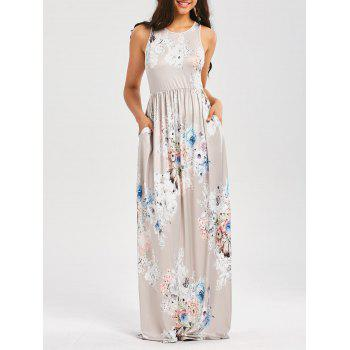 Floral Print Sleeveless High Waist Maxi Dress