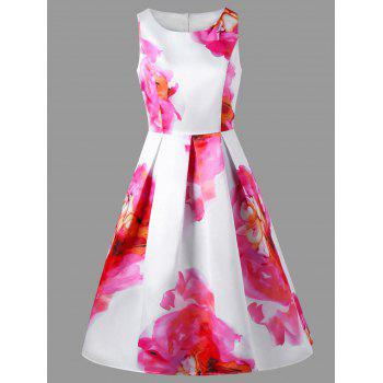 Floral Sleeveless Fit and Flare Party Dress