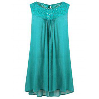 Embroidered Yoke Plus Size Trapeze Dress