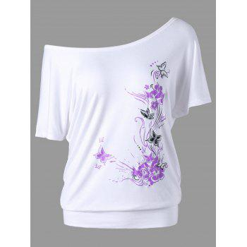 Butterfly and Floral Skew Collar T-Shirt