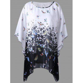 Plus Size Butterfly Sleeve Butterfly Print Blouse