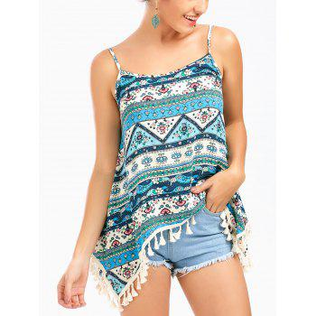 Asymmetrical Cami Tank Top with Ethnic Print