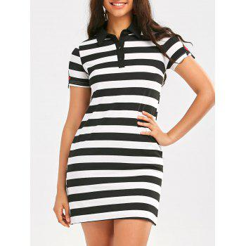Stripe T-Shirt Dress with Rose Embroideried