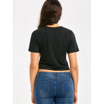 Short Sleeve Cropped T-Shirt with Graphic Pattern - BLACK BLACK
