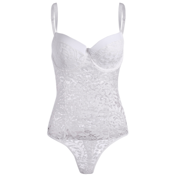 High Cut Sheer Lace Underwire Teddy Bodysuit - WHITE WHITE
