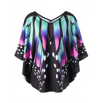 V Neck Batwing Butterfly Print Top