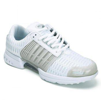Mesh Breathable Faux Leather Insert Athletic Shoes - WHITE 43