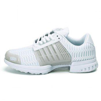 Mesh Breathable Faux Leather Insert Athletic Shoes - WHITE WHITE