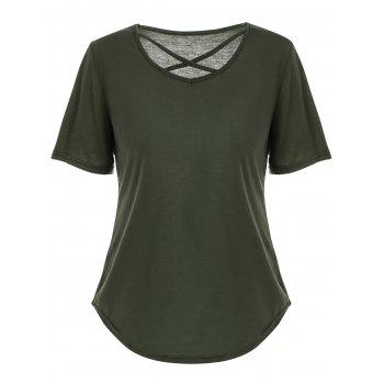 Criss Cross Cut Out V Neck T Shirt