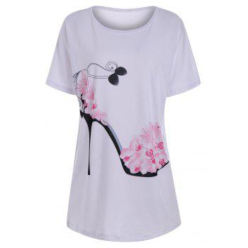 High Heel Floral Print Tunic T Shirt