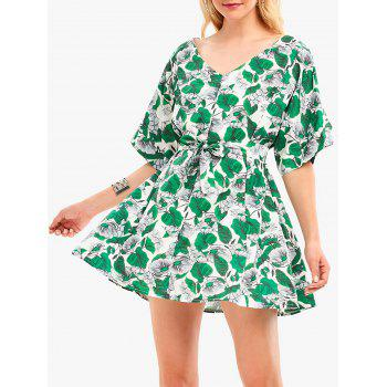 Batwing Sleeve Floral Leaf Print Tunic Dress
